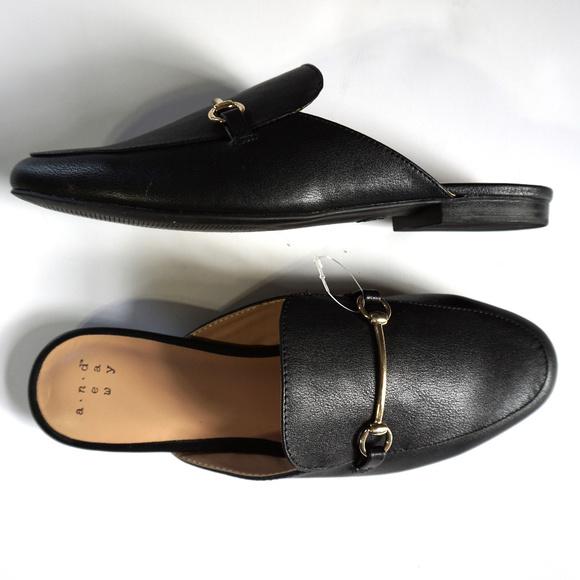 Black Horsebit Slip On Loafers Mules